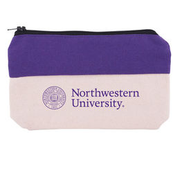 Zippered Two-Tone Cotton Valuables or Cords Supply Pouch