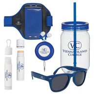 Active Lifestyle Kit Contains Mason Jar, Phone Armband, Earbuds, Sunglasses, Sunscreen and Lip Balm