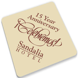 """3.75"""" Square Medium Weight Paperboard Coasters with Full-Color Printing (35 pt)"""