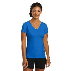 OGIO® Ladies' 100% Polyester Ultra-Breathable Moisture-Wicking STRETCHY V-Neck T-Shirt