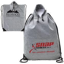 """14.5"""" x 8.75"""" Polyester Hoodie Sweatshirt Drawstring Cinch Backpack"""