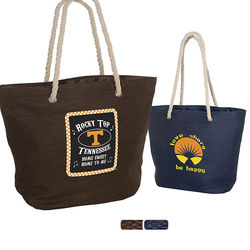 "19.5"" x 13"" Straw Paper Tote with Polyester Lining and Rope Handles"