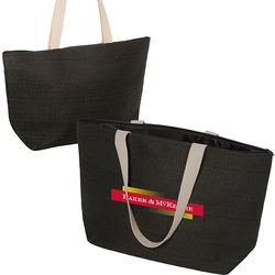 "19.5"" x 11.75"" Straw Paper Tote with Polyester Lining and 24"" Cotton Webbing Handles"