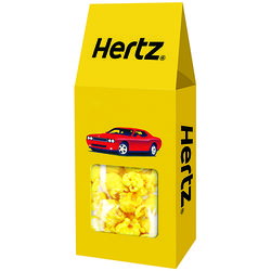 2.5 oz Window Box Filled with Popcorn in Your Corporate Colors