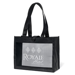 "16"" x 12"" Non-Woven Shoulder Tote with Mesh Panel and 26"" Handles"