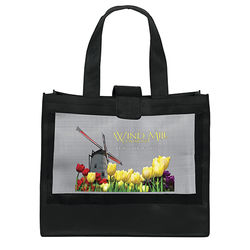 "20"" x 17"" Non-Woven Shoulder Tote with Mesh Panel and 26"" Handles - Full Color Printing"