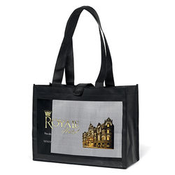"16"" x 12"" Non-Woven Shoulder Tote with Mesh Panel and 26"" Handles - Full Color Printing"