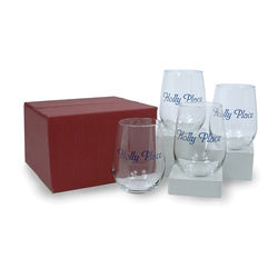 17 oz Stemless Glass Wine Glasses Set (4)
