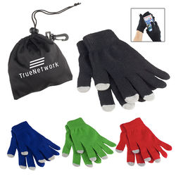 Touchscreen Texting Gloves (Stylus Pads on 3 Fingers) in Travel Pouch