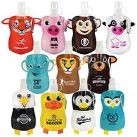 Animal Shapes Flat, Foldable Water Bag with Carabiner