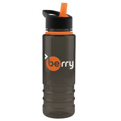 24 oz Two-Tone Dishwasher Safe Bottle with Accent Collar and Flip Straw Lid