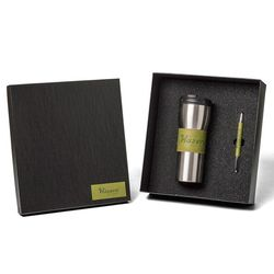 Gift Set with Travel Mug and Stylus Pen Made from Rich Italian Synthetic Leather
