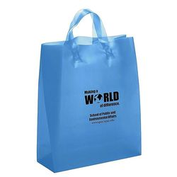 "Frosted Colors Plastic Shopping Bag - 13"" x 17"""