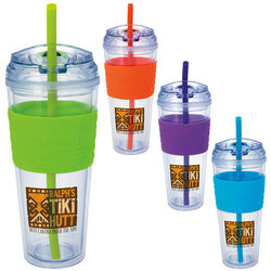 24 oz. Clear Tumbler with Colorful Wave Pattern Silicone Grip and Straw