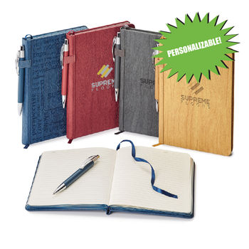 """5.875"""" x 8.25"""" Bound Hard-Cover Journal with Wood Grain Finish and Imprinted Pen (NFC Capable)"""