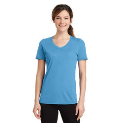 Ladies' Blended Soft-Touch Moisture-Wicking V-Neck T-Shirt