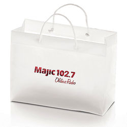 "Frosted Plastic Eurotote Bag - 13"" x 10"" - Foil Imprint"