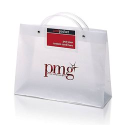 "Frosted Plastic Executote Gift Bag with Outside Business Card  Pocket (Large, 13"" x 10"") - Foil Imprint"