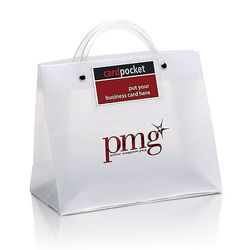 "Frosted Plastic Executote Gift Bag with Outside Business Card  Pocket (Medium, 10"" x 8"") - Foil Imprint"