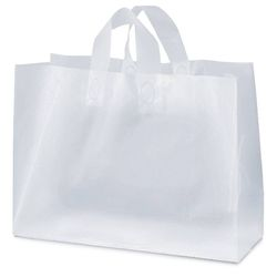 "Frosted Plastic Shopping Bag - 16"" x 12"""