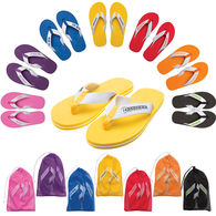 Solid Deluxe Adult Flip Flops in Mesh Bag