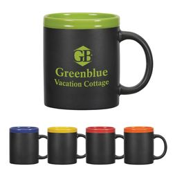 11 oz Black Ceramic Mug with Colored Rim