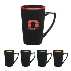 14 oz Black Ceramic Mug with Colored Rim