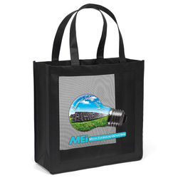"13"" x 13"" Non-Woven Tote with Mesh Panel and 18"" Handles - Full Color Printing"
