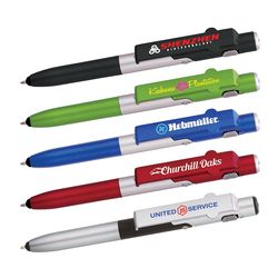 4-in-1 Ballpoint Stylus Pen with LED Light and Phone Stand (Dual Tips)