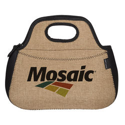 Neoprene Lunch Bag with Burlap Accents