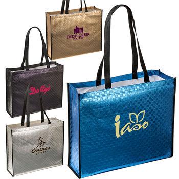 "17.5"" x 14.5"" Metallic Laminated Non-Woven Shoulder Tote Bag"
