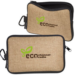 Neoprene Zippered Accessory Pouch with Burlap Accents