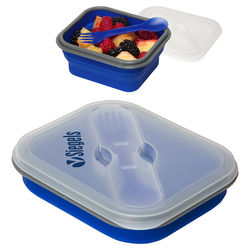Collapsible Silicone Lunch Box with Fork & Spoon