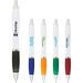 Glossy White Ballpoint Pen with Colored Grip