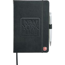 "8.25"" x 5.5"" Bound Hard Cover Journal with Pen"