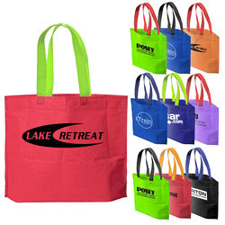 "13.5"" x 20"" Two-Tone Non-Woven Bag is Made in the USA"