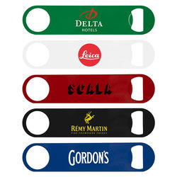 Bartender's Colored Stainless Steel Bottle Opener with Full Color Printing