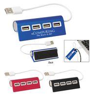 4-Port Aluminum USB Hub - Angled