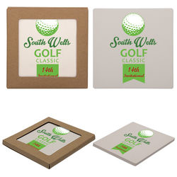 Square Absorbent Stone Coaster with Cork Backing
