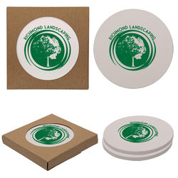 Round Absorbent Stone Coaster with Cork Backing - Set of 2