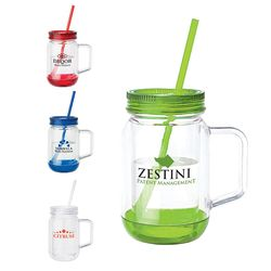 17 oz. PLASTIC Mason Jar Mug with Handle