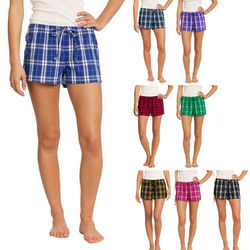 Junior Ladies' Sized Flannel Plaid Boxer Shorts