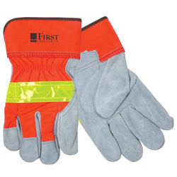 High Visibility Leather Gloves with Safety Cuffs