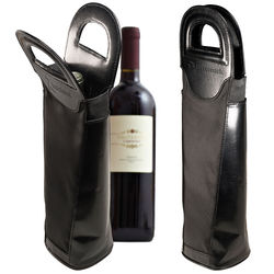 Wine Tote with Leather Accents