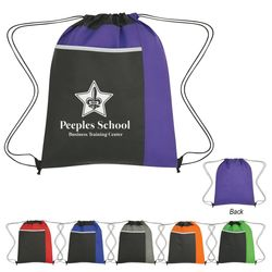 "14"" x 17.75"" Non-Woven Drawstring Pack With Large Front Pocket"