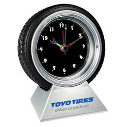 Tire Desk Clock with Tool Clock Hands