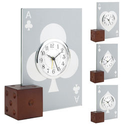 Glass Casino Alarm Clock with Wooden Dice Base