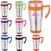 15 oz Stainless Steel Travel Mug with Color Accents and a Plastic Liner