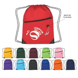 "13.5"" x 18"" Polyester Drawstring Cinch Backpack with Front Zipper"