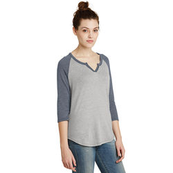Alternative® Ladies' 3/4-Sleeve V-Neck Vintage 50/50 Baseball Jersey